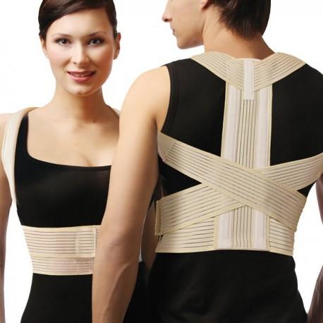 Corretor de postura superior, medicinal, elástico, para costas, com inserções rígidas